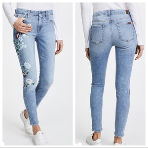 NWT 7FAM The Floral Painted Ankle Skinny Jeans